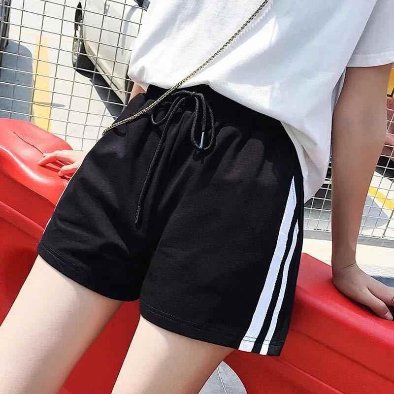 Женские черные шорты летние повседневные свободные шорты большого размера тонкие широкие спортивные шорты