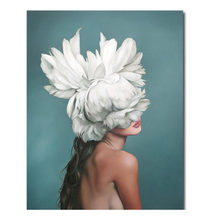 Modern Photo Pictures Sexy Girl Wall Painting Hand Painted feather Print on Canvas Wall Picture For Living Room Home Wall Art(China)