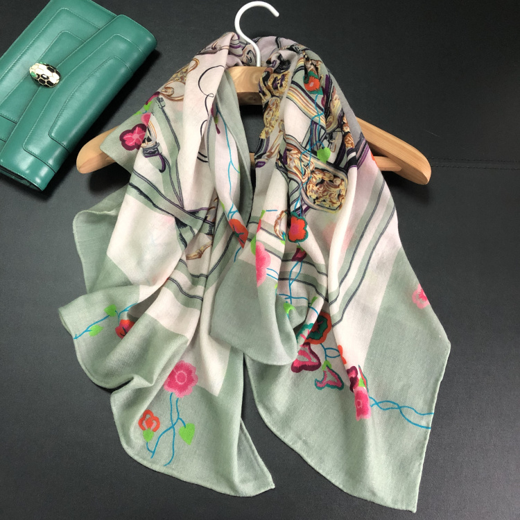 Saddle Floral Scarf Women 300s Pure Cashmere Winter Spring Scarves Luxury Brand Design Shawls Wraps Handmade Hemming 90 90cm in Women 39 s Scarves from Apparel Accessories