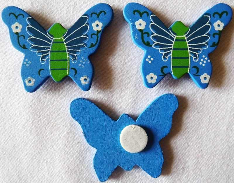 10 قطعة/الوحدة ، الأزرق فراشة الخشب ملصقات الربيع عيد الفصح الحرف النبات حديقة الديكور. ملصقات الحائط الثلاجة في وقت مبكر لعب للتعلم OEM