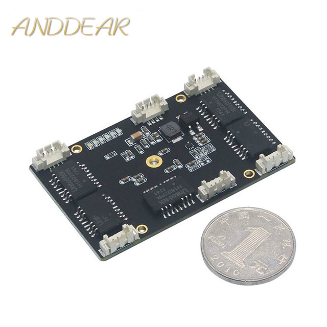 ANDDEAR Customized industrial 5 port 10/100M unmanaged network ethernet switch 12v pcba 5/6 civil grade in module network switch