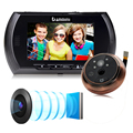 Nueva 4,3 pulgadas de pantalla LCD de detección de movimiento de la puerta mirilla Cámara foto y vídeo mirilla Visor de puerta cámara de visión nocturna