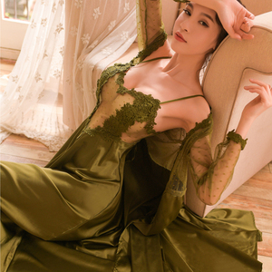 Image 2 - sexy mousse women night gowns sleep wear black robe sexy lace mesh stain white pink green new