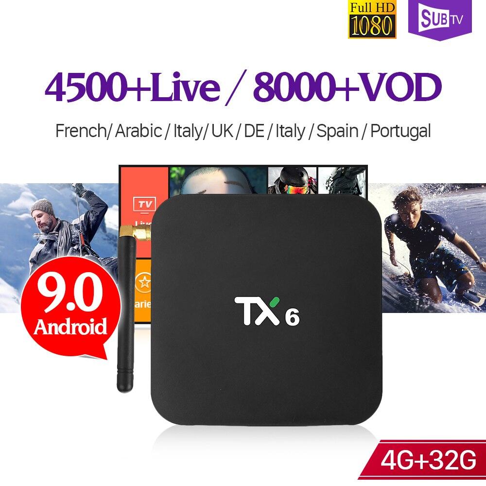 Arabic France IPTV Box Android 9.0 TX6 4+32G BT5.0 USB3.0 Dual-Band WIFI 4K IPTV France Arabic 1 Year SUBTV Subscription Box
