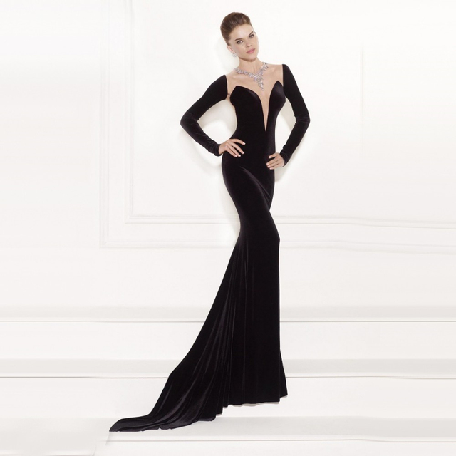 d92a133b26 Plunge V Illusion Neckline Sexy Back Contrast Evening Dress Unique  Aesthetic Black Long Sleeve Gown Red Carpet Prom Festivities