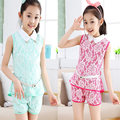 Trendy summer style white chiffon suit shirt and shorts 2pcs vest short pants set t-short for 11 years old girl with waistband