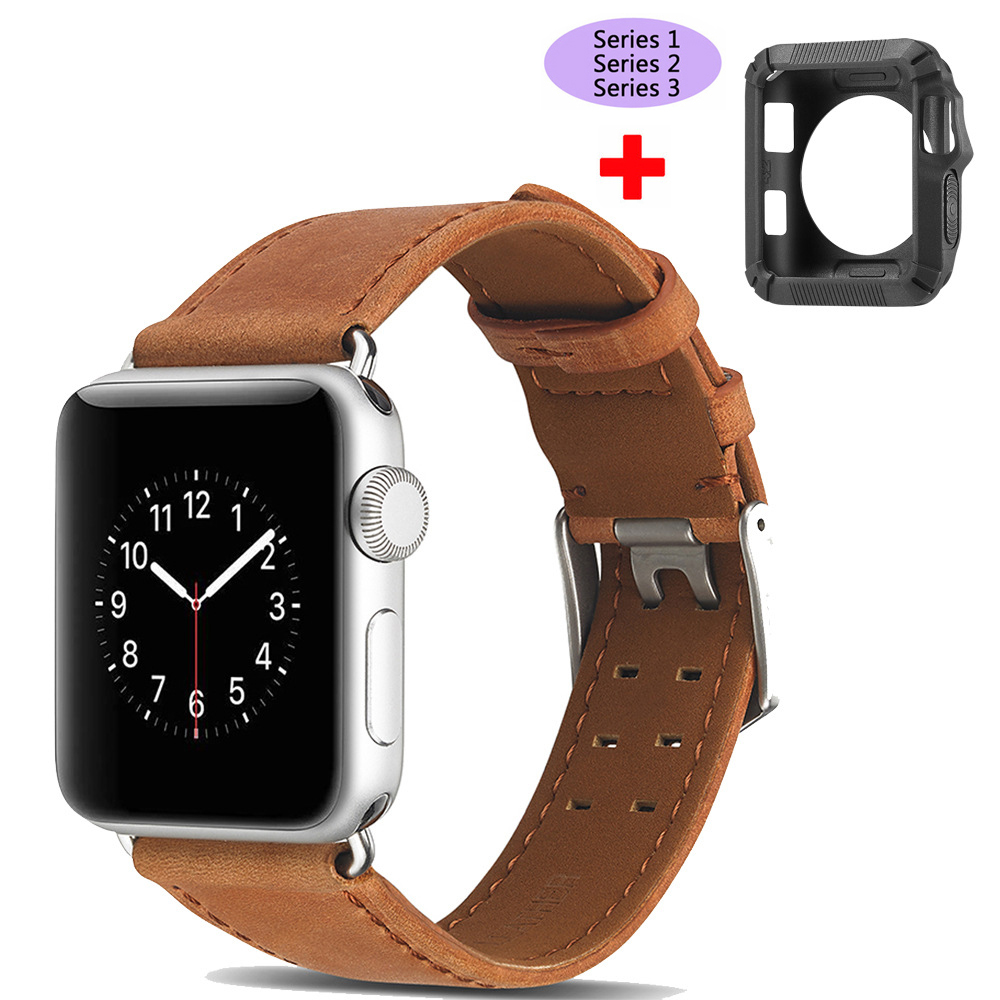 for Apple Watch Band 38mm 42mm,Genuine Calf Leather Replacement Band+Protective case for Apple Watch iWatch Series 3 2 1 Strap cowhide genuine leather strap watch band for apple watch iwatch series 1 series 2 38mm 42mm wristband replacement with adapter