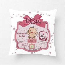 Customized Cute Pink Baby Girls Stats Throw Pillow Cover Home Decorative Cotton Polyester Cotton Cushion Covers for Seat(China)