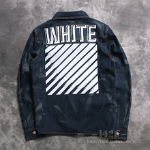 2016 new Fashion trend off white 16ss water wash geometry stripe print denim jacket outerwear
