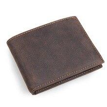 RFID Sperrung Vintage Brauner Farbe Reale Haut Aus Echtem Leder Männer Brieftaschen Für Dollar Mann Geldbörse Kreditkarteninhaber # M8108