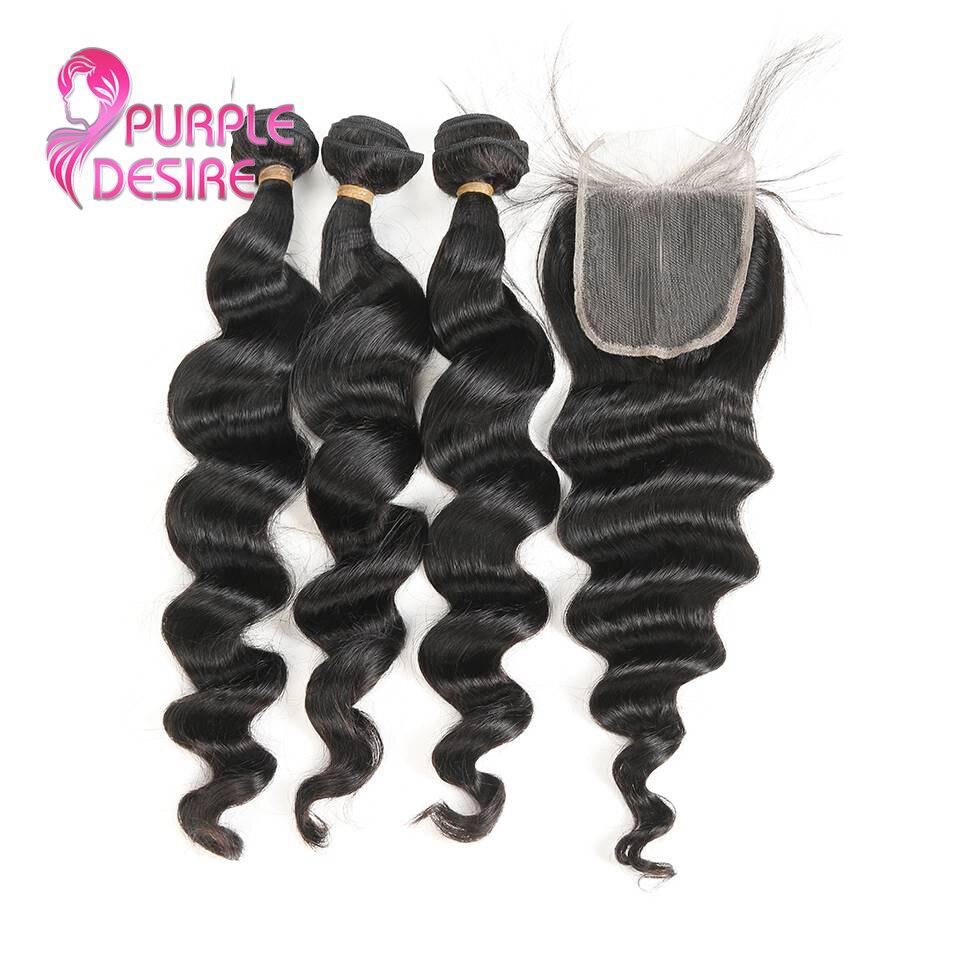 Brazilian Hair Weave 3 Bundles With Lace Closure Free/Middle/Three Part Loose Wave Human Hair Bundles 4Pcs/lot Non Remy Hair