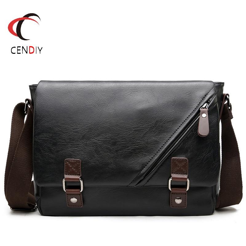 2019 Brand Casual Men Briefcase Business Shoulder Bag Leather Messenger Bags Computer Laptop Handbag Bag Men Travel Bags