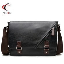 2019 Brand Casual Men Briefcase Business Shoulder Bag Leather Messenger Bags Computer
