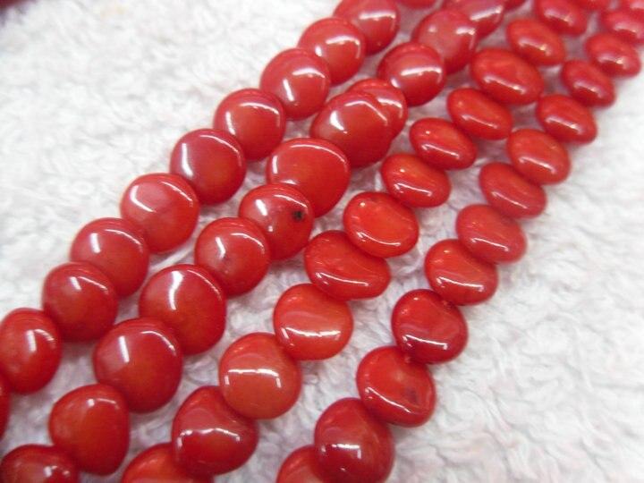 6 мм красный коралловый круглый ломтик плоские бусины 10 нитей в партии