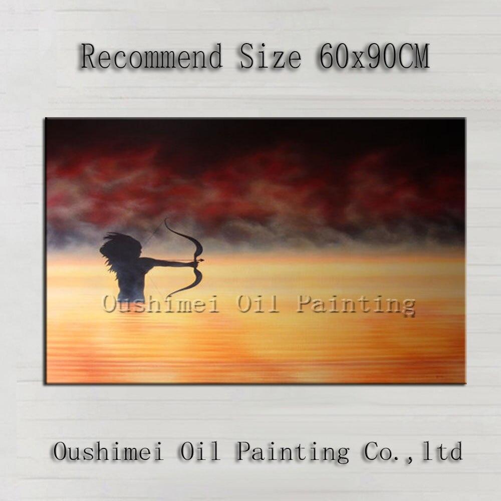 Top qualité maître vieux peintre à la main Impression le guerrier Amazon tenant flèche peinture à l'huile sur toile chasse peinture à l'huile