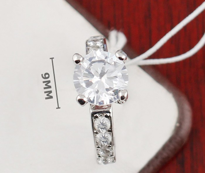 Классические Четыре зубец кольцо из белого золота обручальные кольца комплект 2 карат SONA обручальное кольцо с фианитами кольца для Для женщ... - 2