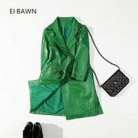 2018 Genuine Leather Jacket Women Sheepskin Green Office Lady Long Trench Coat Streetwear Vintage Genuine Leather Coat Fashion