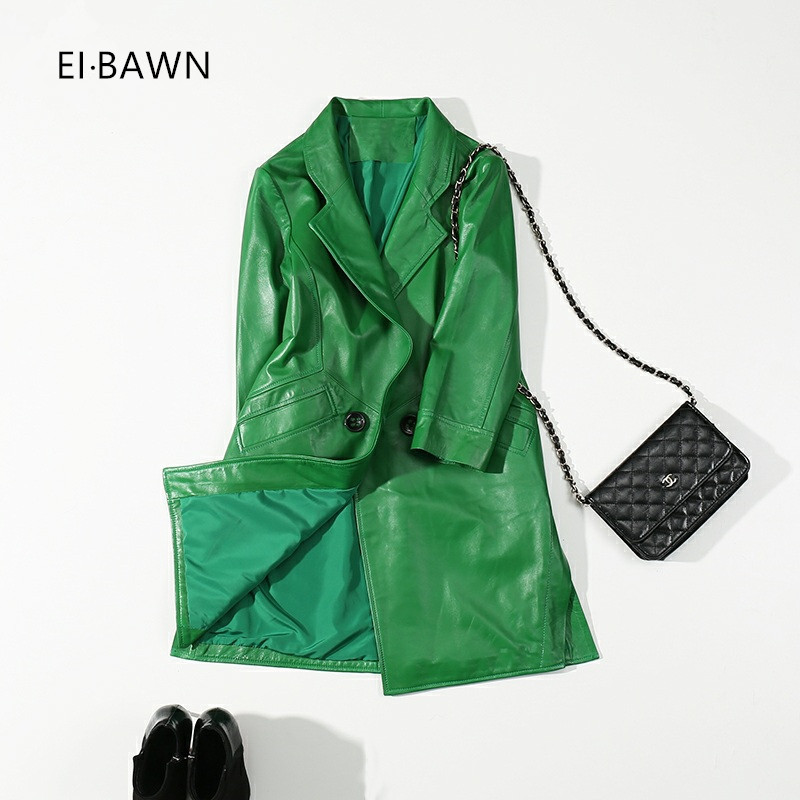 2018 Real Leather Jacket Women Green Office Lady Long Trench Coat Streetwear Genuine Leather High Street Korean Fashion Clothing