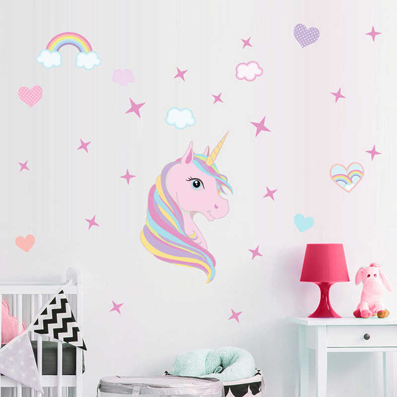 d6e984f1bd Magic Unicorn Wall Stickers Colorful Animals Horse Stars Wall Decals For  Kids Girls Room Diy Poster