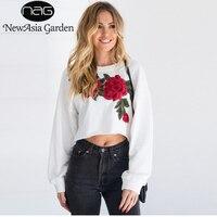NewAisa Ogród O Neck Z Długim Rękawem Haftowane Kwiaty Kobiety Bluzy Jesienne Swetry Casual Ladies Floral Pullover Przycięte Topy