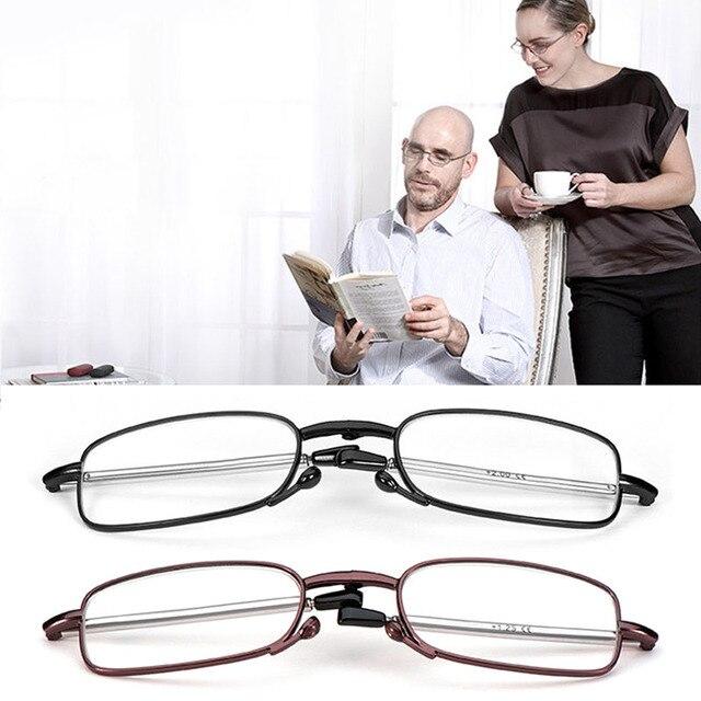 Mulheres Homens Magro Rotação Telescópica Pé Óculos de Leitura Portátil dobrável  Óculos + 1.0 + 1.5 3d51d62a86