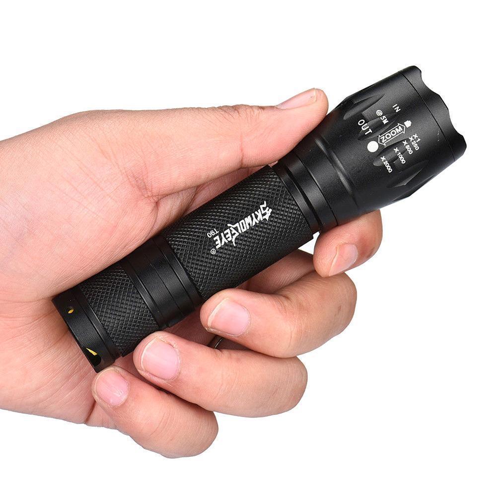 SKYWOLFEYETactical T6 светодиодный фонарик 18650 Батарея регулируемый фокус Фонари 5 режимов факел Водонепроницаемый лампы + 3,7 В Зарядное устройство