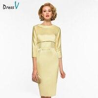 Dressv Elegant Scoop Neck Sheath 3 4 Sleeves Mother Of Bride Dress Bowknot Knee Length Zipper