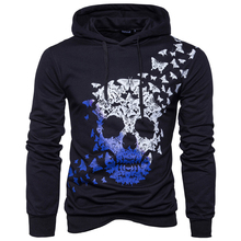 Fashion Mens Hoodie Long Sleeve Sweatshirt Tops Jacket Coat Outwear Skeletons Hot Print Skull Punk Biker Style Hip Hop Hoody