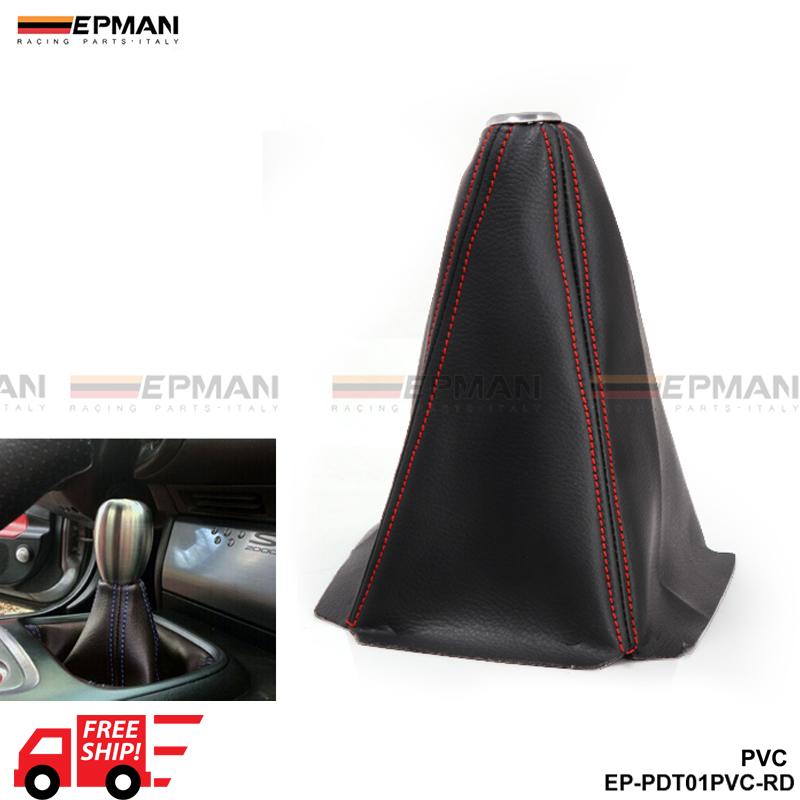 Prix pour Tansky Universel JDM de Changement de Vitesse Shifter Boot Cover Noir PVC À/MT Point Rouge/Bleu/Jaune TK-PDT01PVC-FS