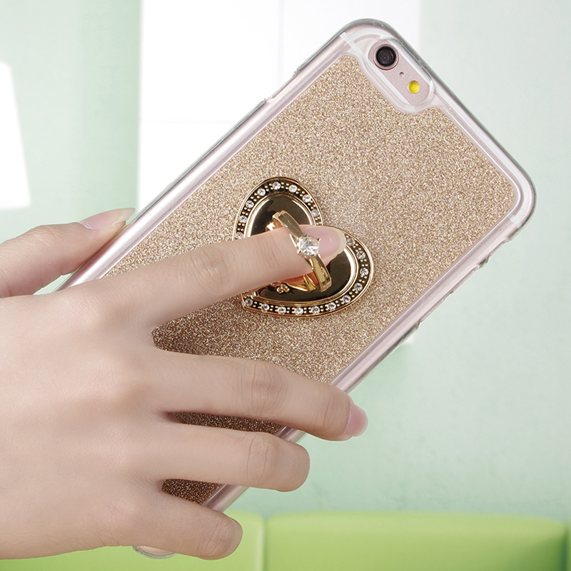 Luxury Ring Stand <font><b>Case</b></font> Soft TPU Silicon Diamond Bling <font><b>Phone</b></font> Protector Cover Rose coque for <font><b>Apple</b></font> iPhone 6s 6 7 Plus 5s 5 SE <font><b>4s</b></font> 4