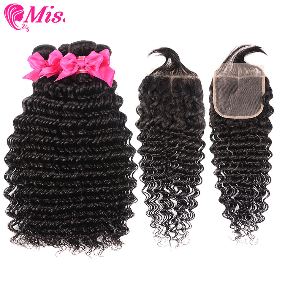 Miss Cara Malaysian Deep Wave Bundles With Closure 100% Human Hair 2/3 Bundles With Closure Free/Middle Part Remy Hair Extension-in 3/4 Bundles with Closure from Hair Extensions & Wigs    1