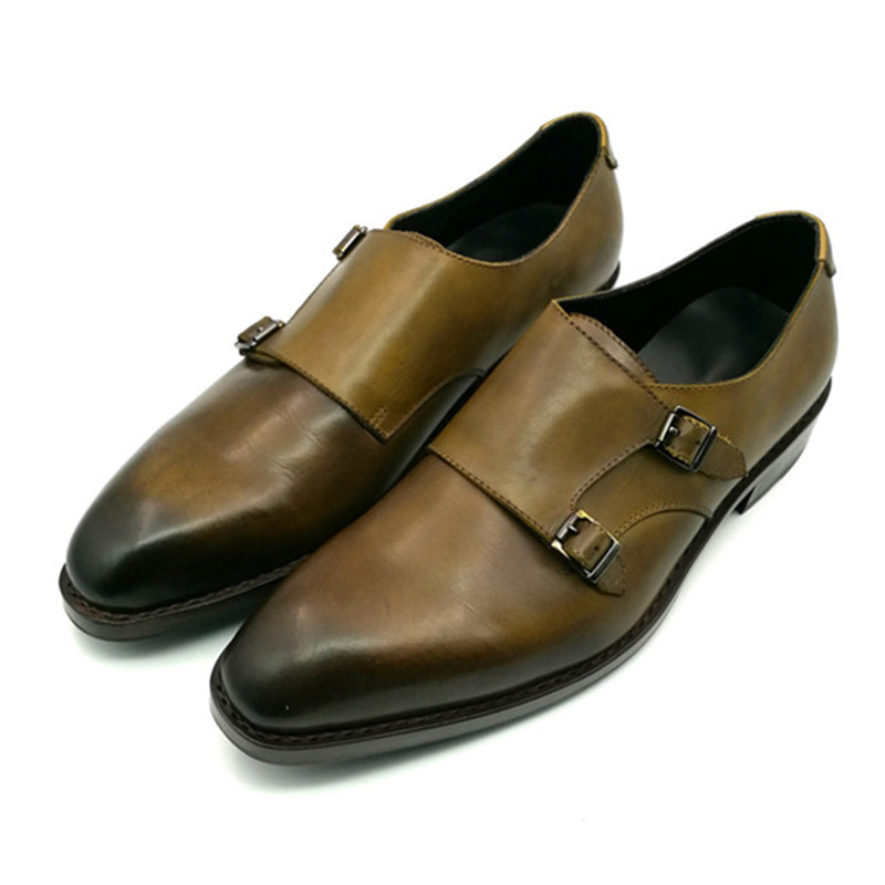 Promotion Discount Low Price Men Shoes Leather Handmade Goodyear Genuine Leather Monk Strap Shoes in Stock monk shoes florsheim monk shoes