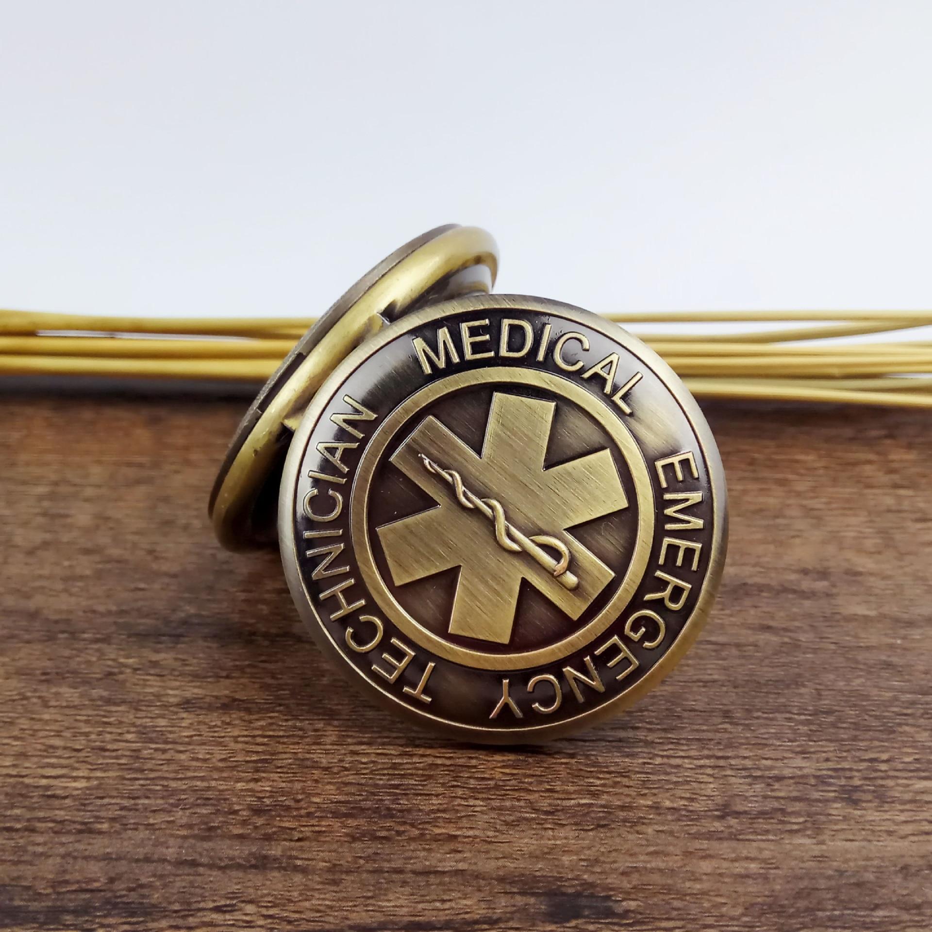 EMT Emergency Medical Technician Paramedic Badge Nurse Pocket Watch Pendant