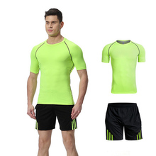 Two Pieces Short Sport Suit Men Compression Clothing Running  Shirt And Shorts Jogging Set Quick Dry Gym Fitness Sportswear цена и фото