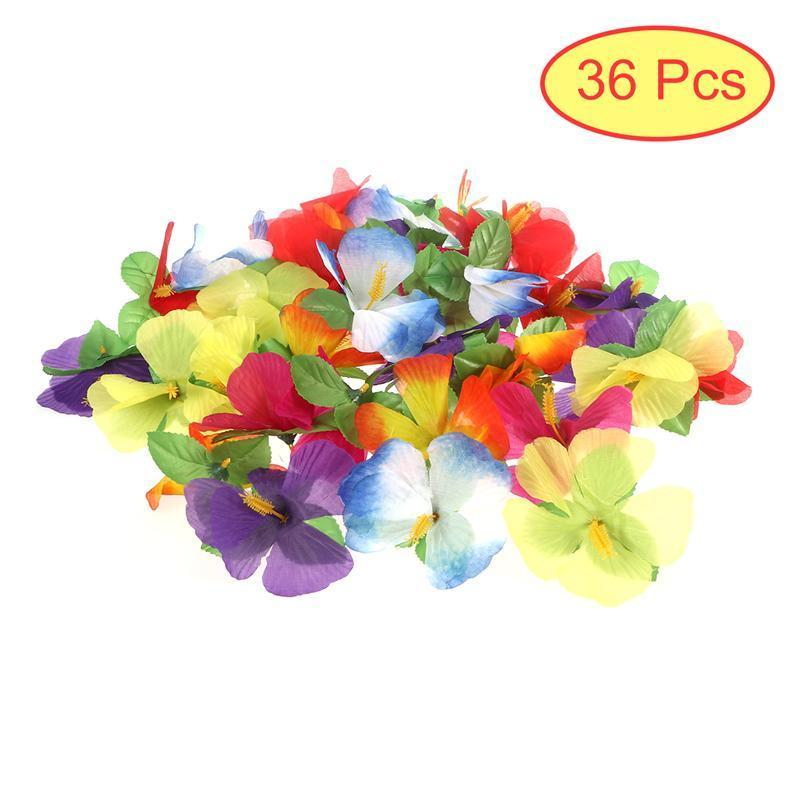 36pcs Hawaiian Artificial Flowers Hibiscus Flowers for Tabletop ...