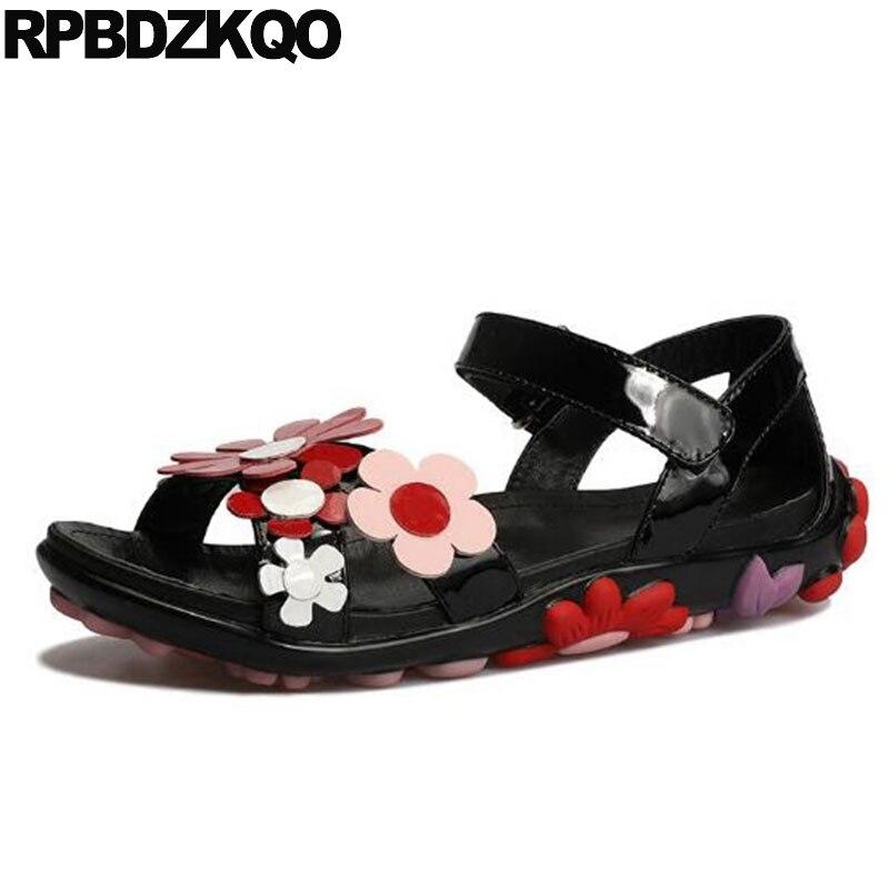 Designer Sandals Women Luxury 2017 Summer Flower Wedge Shoes Runway Genuine Leather Open Toe Patent Low Heel Slingback Black