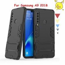 For Samsung Galaxy A9 2018 Case Silicone Plastic Kickstand Anti-knock Cover