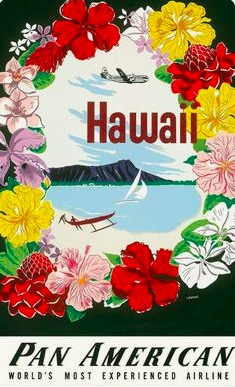 pan american airline hawaii travel tour retro vintage poster canvas painting diy wall paper posters home decor gift