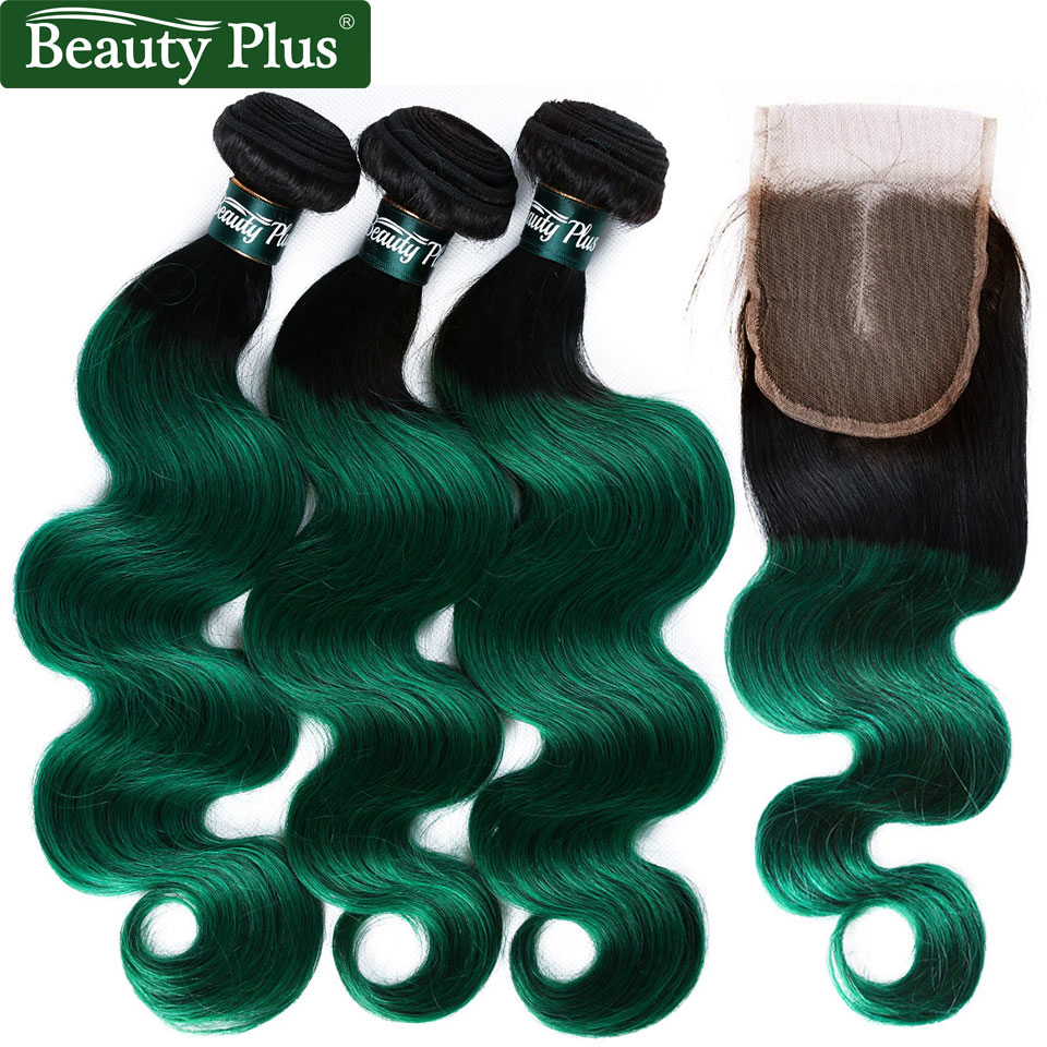 Peruvian Hair Green Bundles With Closure Ombre Body Wave Bundles With Frontal Human Hair Bundles Black With Closure Non Remy BP