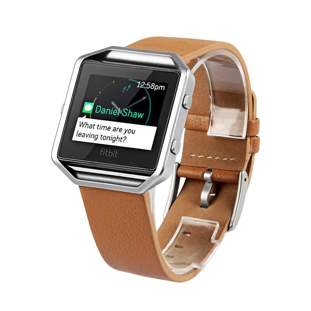 V-MORO Genuine Leather Camel Bracelet Strap with Metal Frame Replacement Band For Fitbit Blaze Band Smart Fitness Watch v moro solid stainless steel metal replacement band with adapters for samsung gear s2 smart watch metal silver