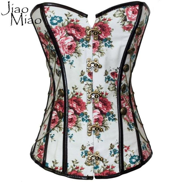 Jiao Miao Women Spiral Steel Bone Steampunk Clothing Ring Buckle Shoelace Push Up Bustiers Sexy Overbust Waist Trainer Corsets