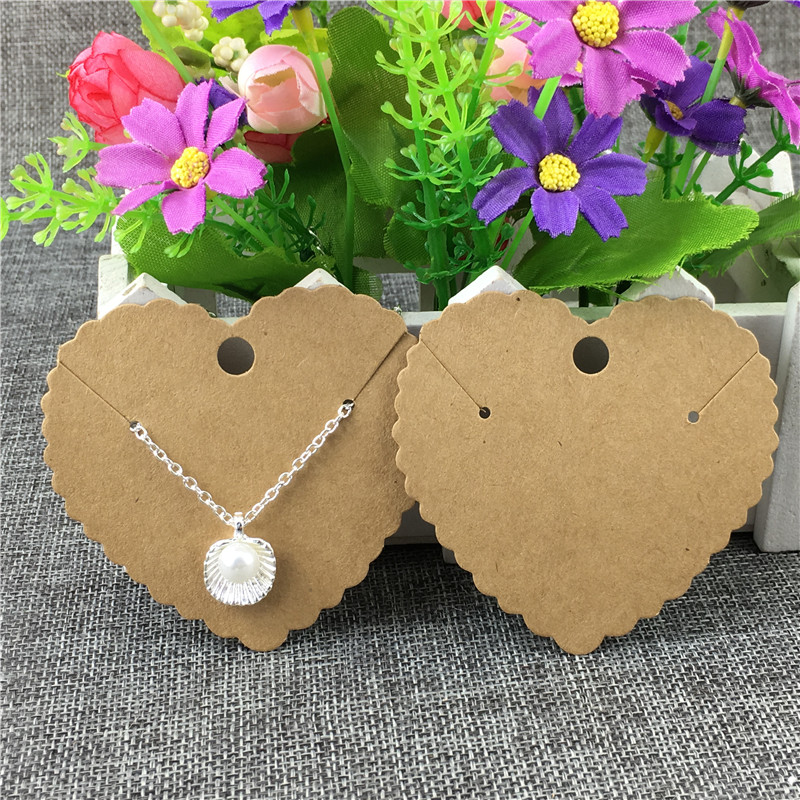 50Pcs/Lot Heart Shape Earrings Necklace Card Handmade Kraft Paper Cardboard For Fashion Charm Jewelry Display Packing Card