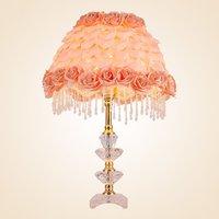 Современные лепестки роз изголовья для спален настольные лампы ткань поддельные розы Настольные светильники кристаллическая основа кабин