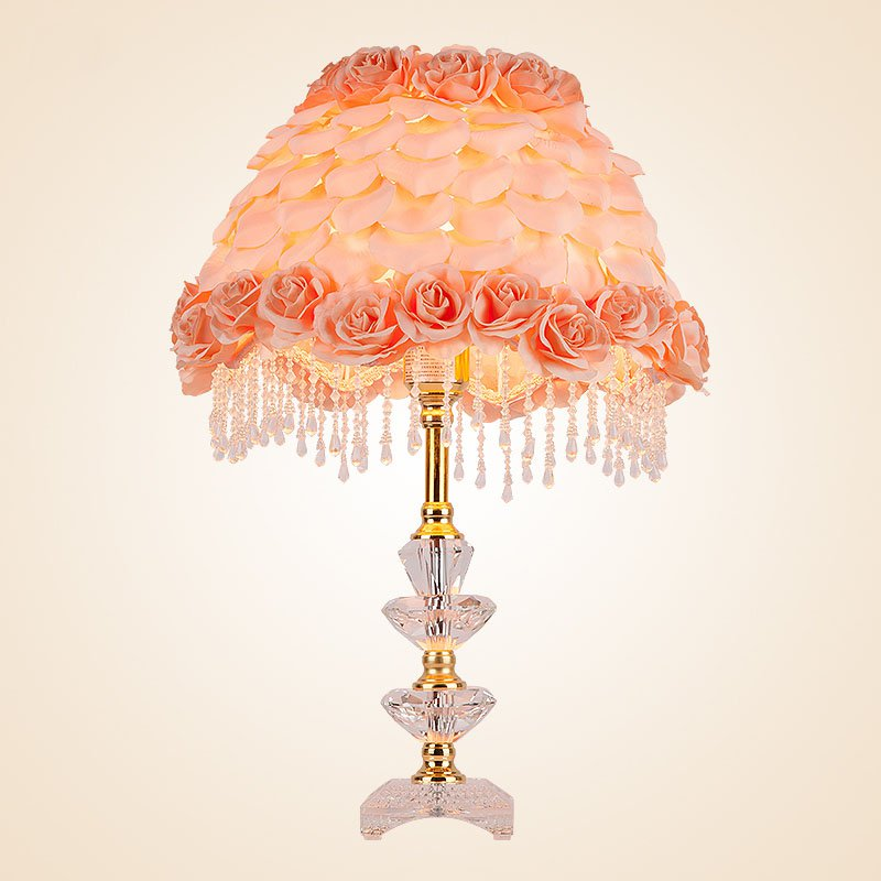 Modern Rose Petals Bedroom Bedsides Table Lamps Fabric Fake Rose Desk Lights Crystal Base Study Room Desk Lights Wedding Gifts