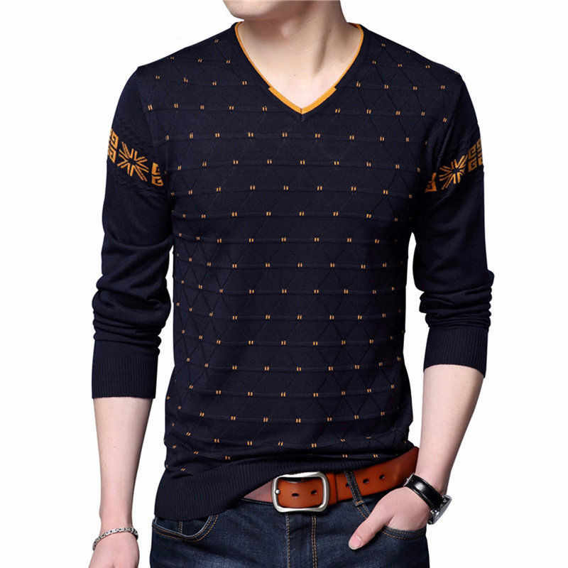 blue Mens Sweaters Wool Pullover Men Brand Clothing Casual V-Neck Sweater Men Dot Pattern Long Sleeve Cotton Shirt Male