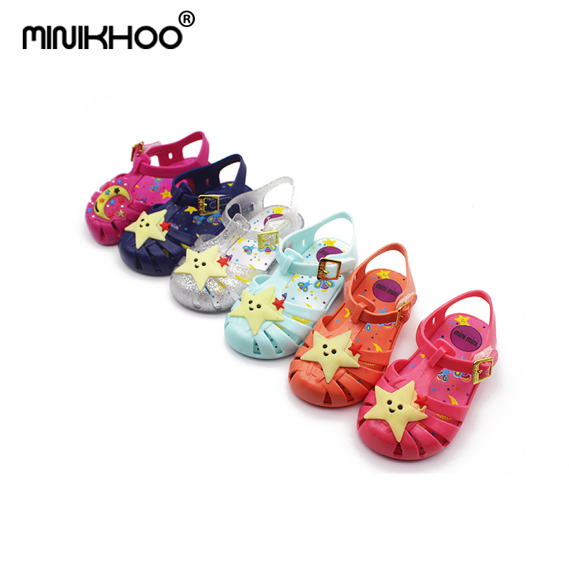 Mini Melissa Star Moon Girl Jelly Sandals 2018 Summer Sandals Princess Shoes Children Beach Shoes Jelly Children Shoes Melissa