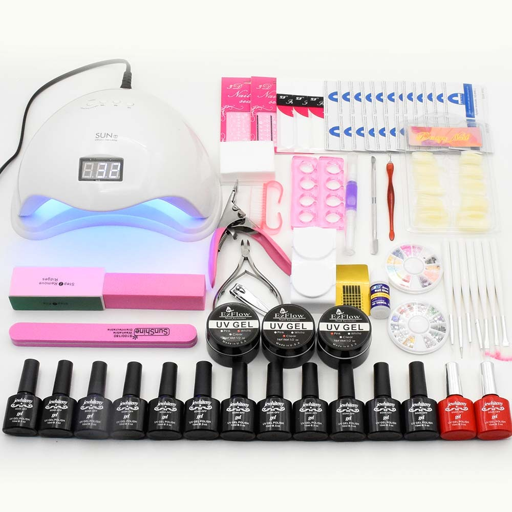Manicure Set 12pcs UV Gel Nail Polish Kit Nail Extension Set Nail Art Sets SUN5 48W UV LED Lamp Nail Dryer Manicure Tools Kits original sun5 48w white light profession manicure led uv dryer lamp nail polish nail gel art tools