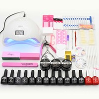 Manicure Set 12pcs UV Gel Nail Polish Kit Nail Extension Set Nail Art Sets SUN5 48W UV LED Lamp Nail Dryer Manicure Tools Kits