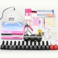Manicure Set 12pcs UV Gel Nail Polish Kit Nail Extension Set Nail Art Sets SUN5 48W UV LED Lamp Nail Dryer Manicure Tools Kits