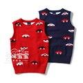 Nuevo 2015 otoño del resorte de punto los niños chaleco ropa niños sin mangas del chaleco de los bebés del coche del chaleco de punto suéteres jersey